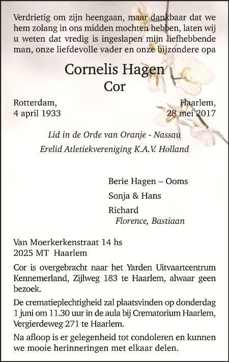 Ere-lid Cor Hagen overleden