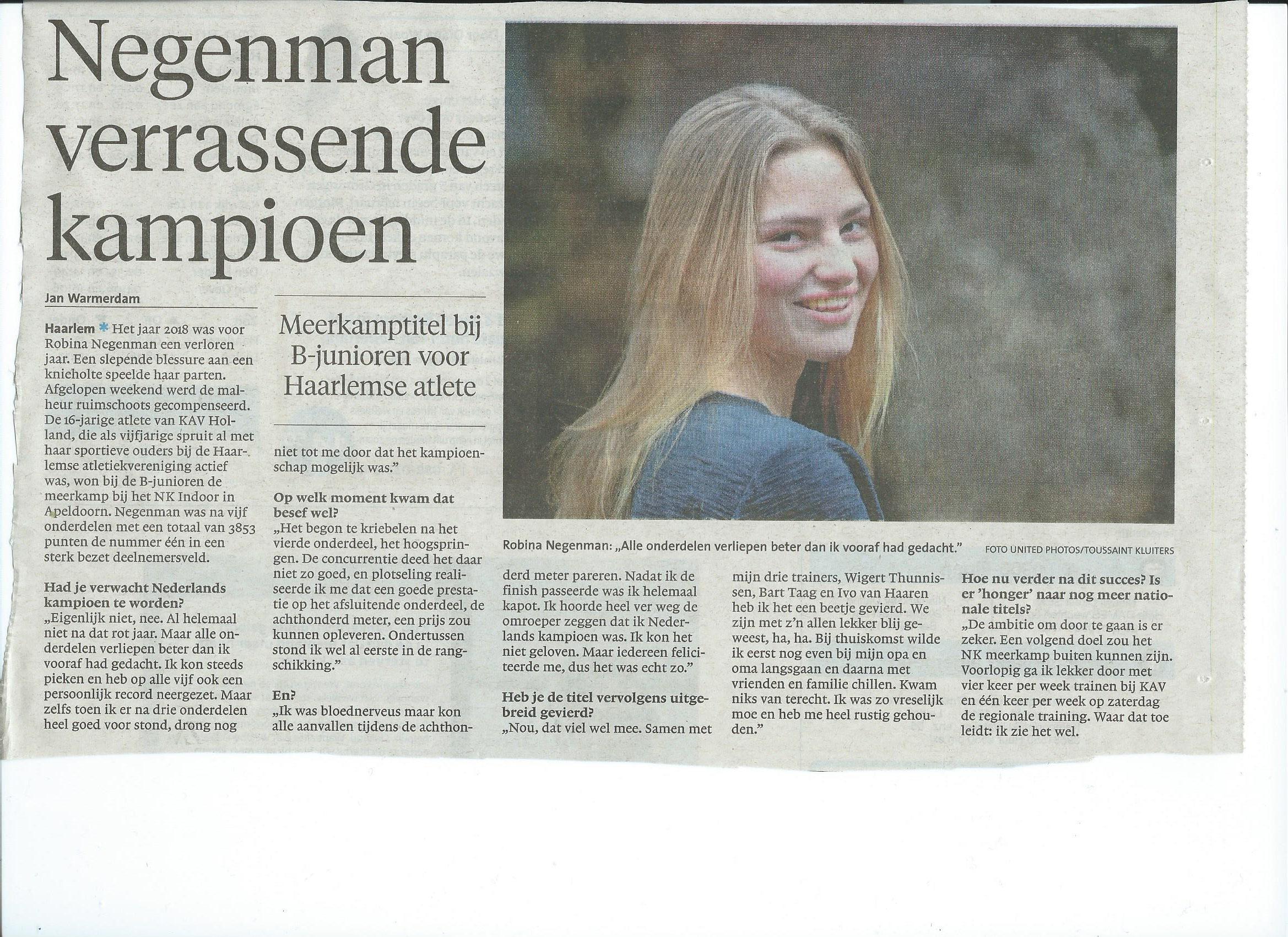 Robina Negenman kampioene vijfkamp