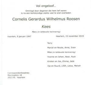 tekst Rouwkaart Kees Roosen